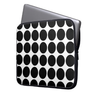 Black Polka Dots on White Laptop Sleeves