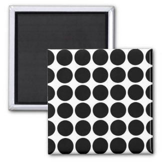Black Polka Dots on White Magnet