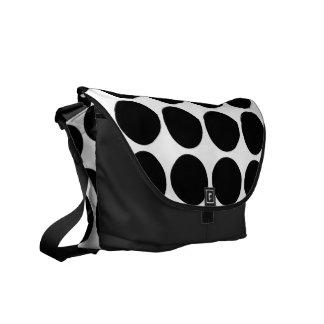 Black Polka Dots on White Messenger Bag