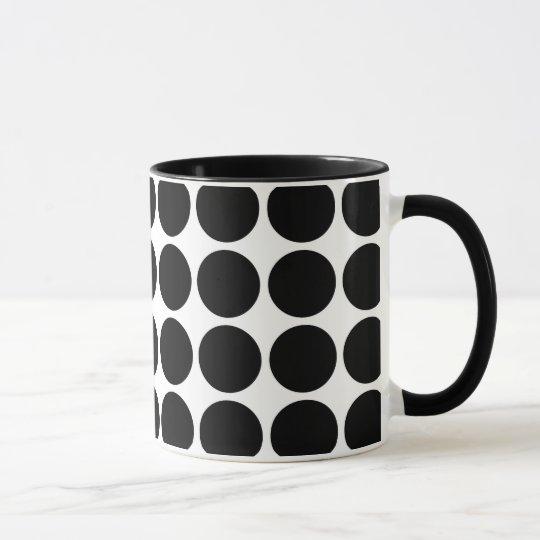 Black Polka Dots on White Mug