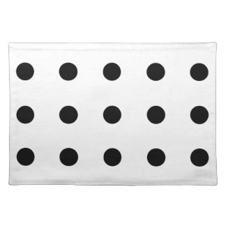 Black Polka Dots on White Placemat