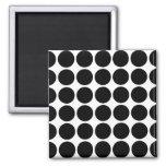 Black Polka Dots on White Refrigerator Magnets