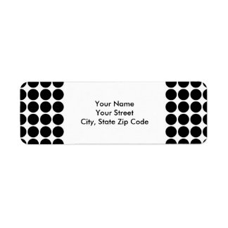 Black Polka Dots on White return address label
