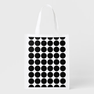 Black Polka Dots on White Reusable Grocery Bags