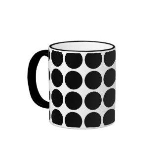 Black Polka Dots on White Ringer Coffee Mug