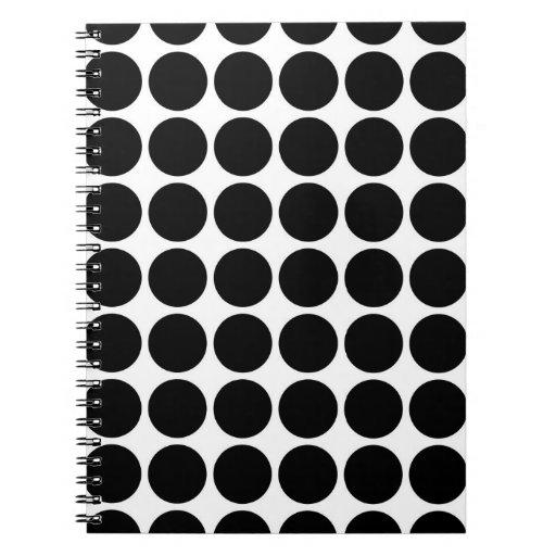 Black Polka Dots on White Spiral Notebook