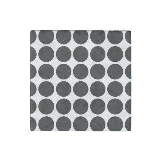 Black Polka Dots on White Stone Magnet
