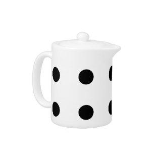 Black Polka Dots On White Teapot at Zazzle