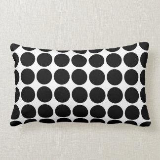 Black Polka Dots on White Throw Pillows