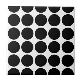 Black Polka Dots on White Tile