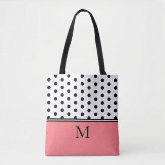 Black Polka Dots on White With Pink Monogram Tote Bag