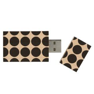 Black Polka Dots on White Wood USB 3.0 Flash Drive