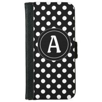 Black Polka Dots Personalized Wallet Case
