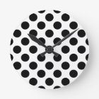 Black Polka Dots Round Clock