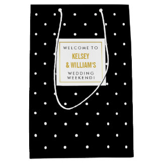 Black Polka Dots Wedding Out of Town Guest Welcome Medium Gift Bag