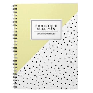 Black Polka Dots Yellow Abtract Pattern Custom Notebook