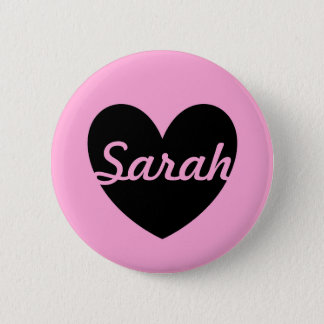 Black polka hearts on cotton candy pink button