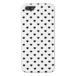 Black Polkadot Candy Hearts on White iPhone 5 Covers