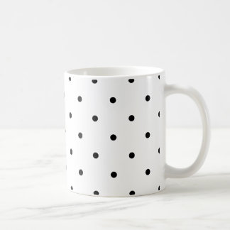 Black Polkadots Small Classic White Coffee Mug