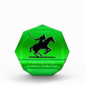 Black Polo Pony and Rider, green chrome-look strip Award