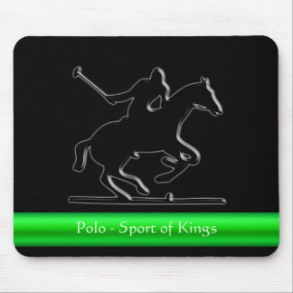 Black Polo Pony and Rider, green chrome-look strip Mouse Pad