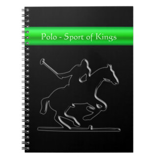 Black Polo Pony and Rider, green chrome-look strip Spiral Notebook