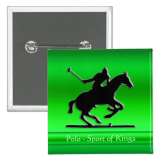Black Polo Pony and Rider on green chrome-look Pinback Button