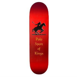 Black Polo Pony and Rider on red chrome-effect Skateboard