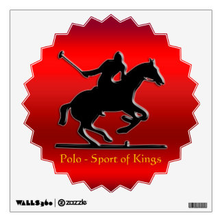 Black Polo Pony and Rider on red chrome-effect Wall Decal