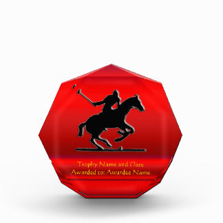 Black Polo Pony and Rider on red chrome-look Acrylic Award