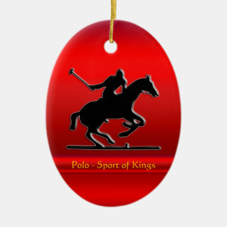 Black Polo Pony and Rider on red chrome-look Double-Sided Oval Ceramic Christmas Ornament