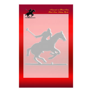 Black Polo Pony and Rider on red chrome-look Stationery