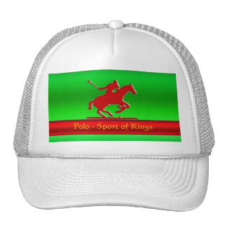 Black Polo Pony and Rider on red chrome-look Trucker Hat