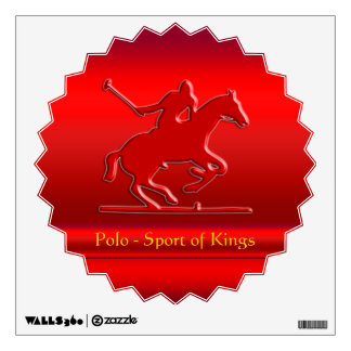 Black Polo Pony and Rider on red chrome-look Wall Stickers