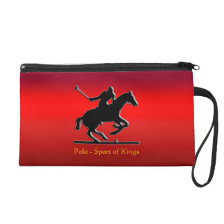 Black Polo Pony and Rider on red chrome-look Wristlet Purse