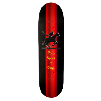 Black Polo Pony and Rider, red chrome-effect strip Skateboard Deck
