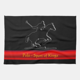 Black Polo Pony and Rider, red chrome-look stripe Hand Towel