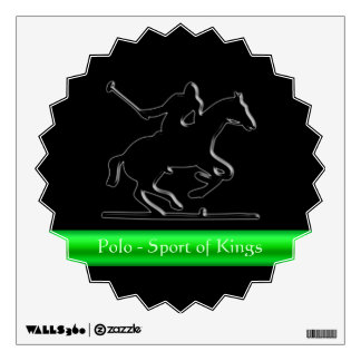 Black Polo Pony and Rider, red chrome-look stripe Room Decals