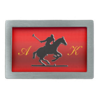 Black Polo Pony, Rider, Monogram, red chrome-look Rectangular Belt Buckle