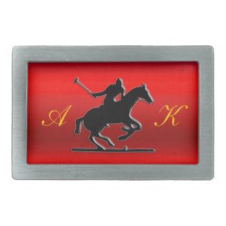 Black Polo Pony, Rider, Monogram, red chrome-look Rectangular Belt Buckle