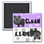 Black Pomeranian Clean Dirty Dishwasher Magnet