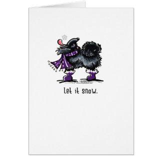 Black Pomeranian Let it Snow Card