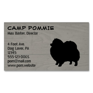 Black Pomeranian Silhouette Magnetic Business Cards (Pack Of 25)