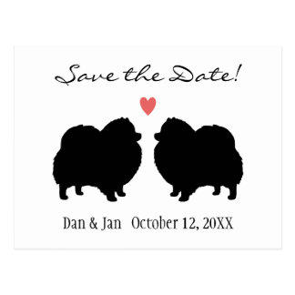 Black Pomeranian Silhouettes Wedding Save the Date Postcards