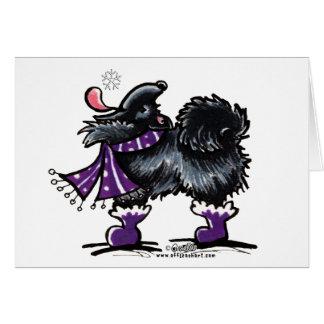 Black Pomeranian Winter Magic Greeting Card