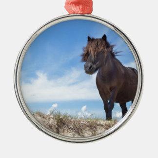 Black pony on sand with blue sky metal ornament