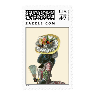 Black Poodle 18th Century Style Postage Stamp