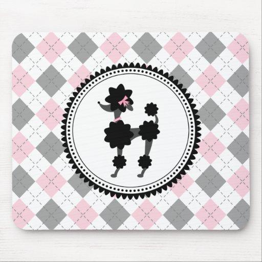Black Poodle & Argyle Mousepad