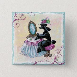 Black Poodle Boudoir Retro Art Button PIn