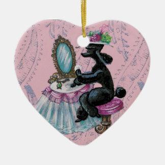 Black Poodle Boudoir Retro Art Heart Ornament